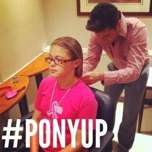 Celebrity stylist, Gabriel Samra, doing a ponytail to Sophia.