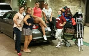 2 amigas, 3 teens, 5 bags, 6 backpacks, small wheelchair, crutches and 2 purses all in one Ford Fusion from San Fran to LA!!