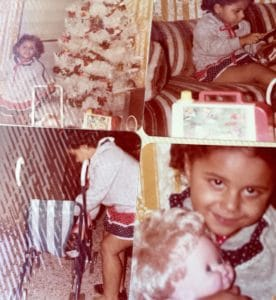 Me as a tween on a Christmas morning surrounded by the gifts Santa brought me.