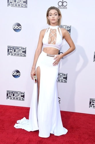 Super-model, Gigi Hadid, has had an amazing year with countless of runway shows, print ADs, the Victoria's Secret Fashion Show...and this show-stopping white two piece! Photo by: Getty Images