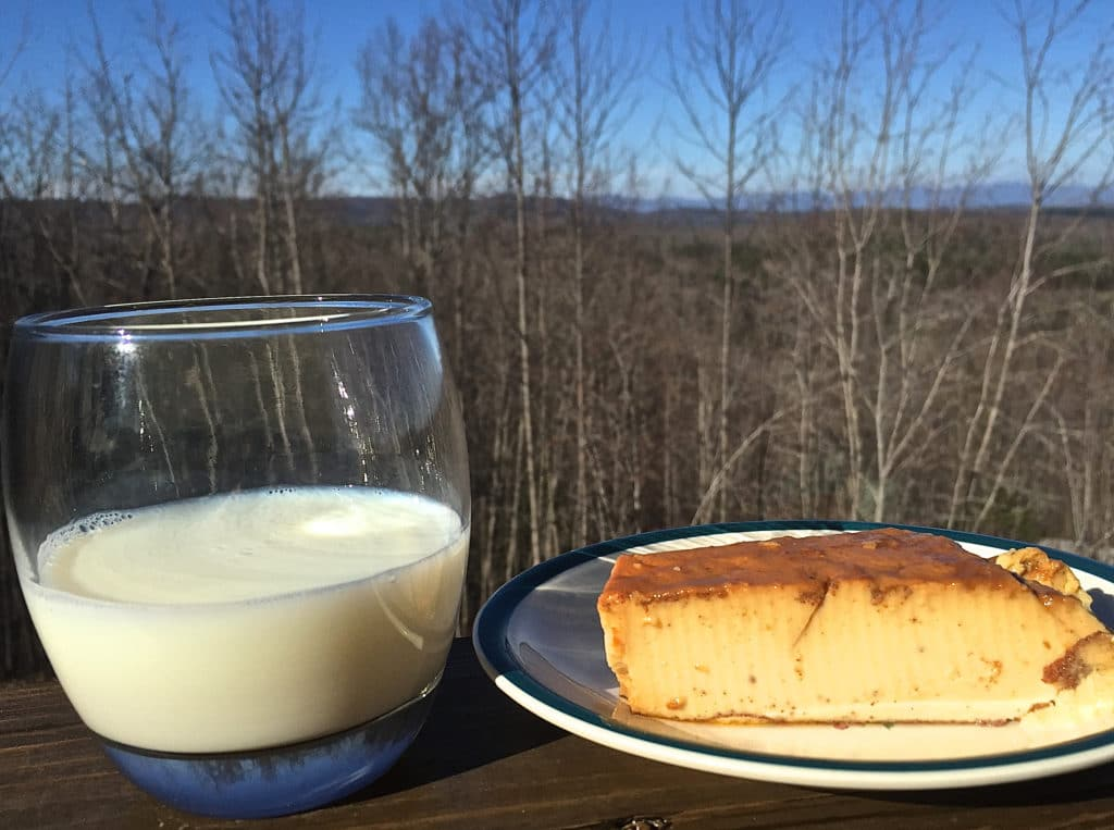 Milk (un vasito de leche) and a little slice of Abuelo's yummy flan make the holidays special and includes good protein.