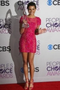 Ex-Glee alumn and Scary Queens star, Lea Michele, rocks a pretty pink short dress.
