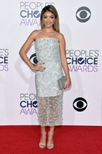 Modern Family's Sarah Hyland looks classy in a grey beaded strapless dress.