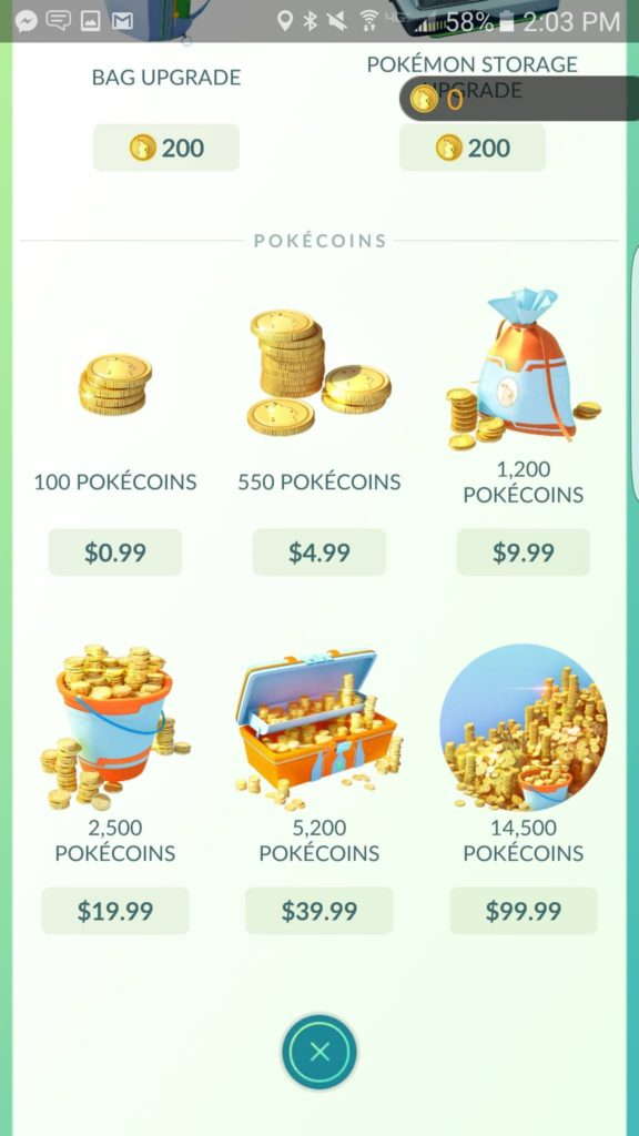 Screenshot of Poke Coins currency rates inside Pokemon Go. Image by: theverge.com