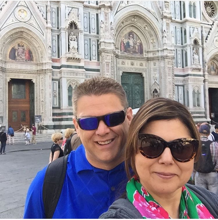 My hubbie, my sunscreen and I in Florence, Italy.