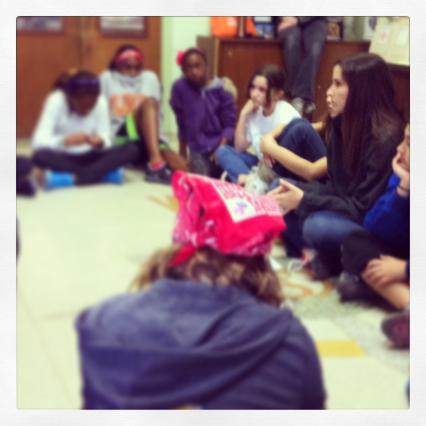 Katherine talking to group of Girl Scouts wearing Therafit  Sneakers