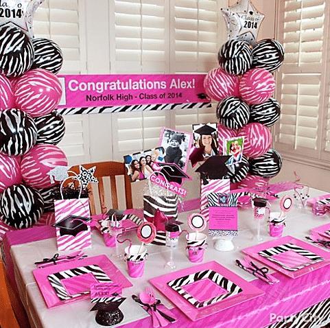 Pink and Zebra Graduation Theme Idea