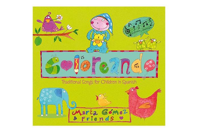 """Album """"Coloreando: Canciones tradicionales para niños en español,"""" grabado originalmente por Marta Gómez."""