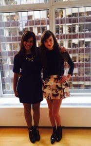 Callie and I looking cute (obsesed by her skirt!) post-interview in NYC, May 2015