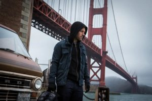 "Paul Rudd, as ""Ant-Man,"" next to San Fransisco's Golden Bridge"