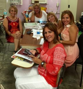 "My beautiful and ""fashionista"" mom (far left) with her fellow teachers in their first day back to school 2015."
