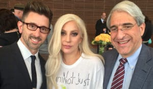 Lady Gaga with President Peter Salovey, right, and Marc Brackett, director of the Yale Center for Emotional Intelligence, at the Emotion Revolution summit held at the Yale School of Management Oct. 24th.