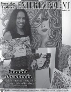 "Claudia Marulanda with her ""Wonder Women"" paintings"