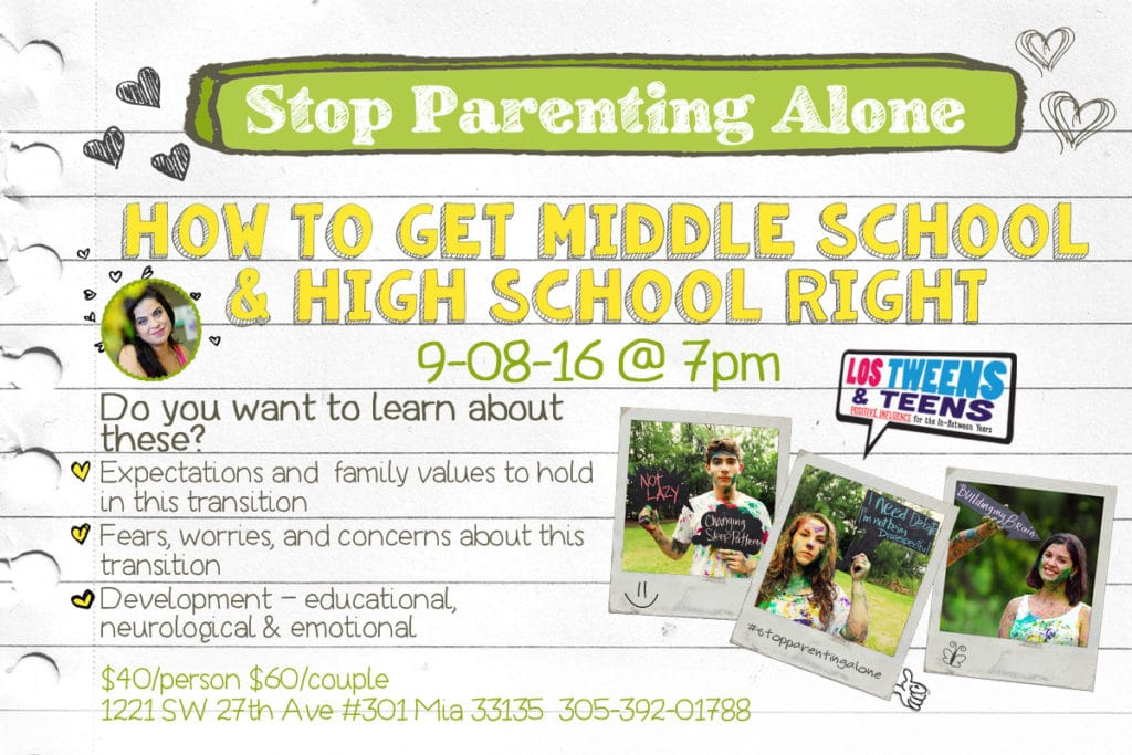 Elementary to middle school to high school stop parenting alone