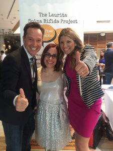 Laura Tellado (center) with Super Latina TV's Gaby Natale and TV Personality & Fashion Stylist, Martín Llorens, at the launch of the Laurita Spina Bifida Project at Hispanicize in Miami, March 2016.