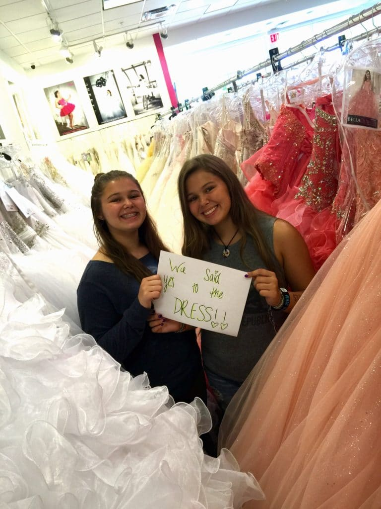 "Sophia & Olivia, Cristy's teen twin girls, said ""yes"" to their Quinces dresses at"